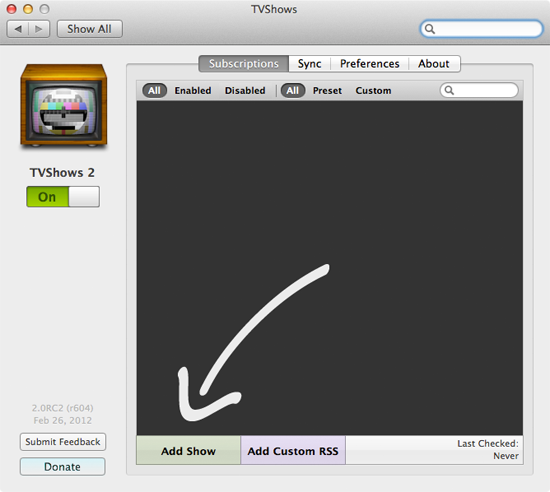 Adding a show to TVShows for Mac