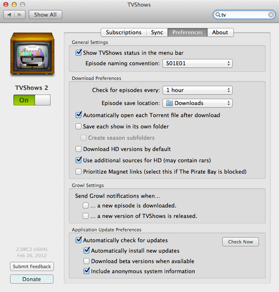 TVShows for Mac preferences