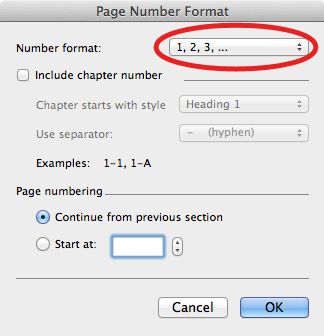 Formatting page numbers in a Microsoft Word document on your Mac.